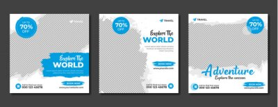 Obraz Set of travel sale social media post template. Web banner, flyer or poster for travelling agency business offer promotion. Holiday and tour advertisement banner design.