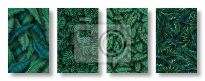 Obraz Set of tropical leaves background