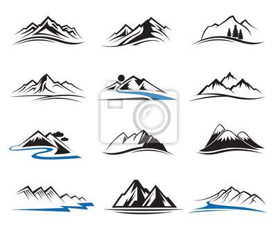 Obraz set of twelve mountain icons