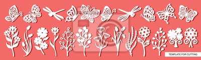 Obraz Set of twigs, flowers, butterflies and dragonflies. Plant theme. White objects on a pink background. Template for laser cutting, wood carving, paper cut and printing. Vector illustration.