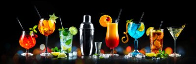 Obraz Set of various cocktails with on black background