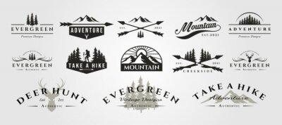 Obraz set of vector adventure mountain outdoor vintage logo symbol illustration design, vintage bundle logo design