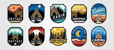 Obraz set of vector cottage outdoor logo emblem vector illustration design, adventure cabin camp badge vector design