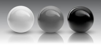 Obraz Set of vector spheres and balls on a white background with a shadow.