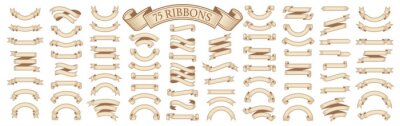 Obraz  Set of vintage scrolls ribbons on white. old blank banners vector illustration