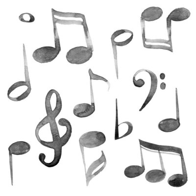 Obraz Set of watercolor music notes and keys set in black ink