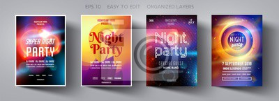 Obraz Set poster for night party.Flyer design template.Concept design for banner.Set flyer for dance club party.Layout invitation.Abstract background.Layout cover booklet.Vector wallpaper.Poster template.