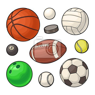 Obraz Set sport balls icons. Vector color illustration. Isolated on white