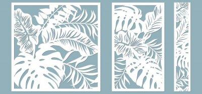 Obraz Set template for cutting. Palm leaves pattern. Laser cut. Vector illustration.
