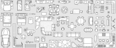 Obraz Set top view for interior icon design. Floor plan. Architecture plan with furniture in top view. The layout of the apartment, technical drawing  kitchen, living room and bedroom. Vector Illustration.
