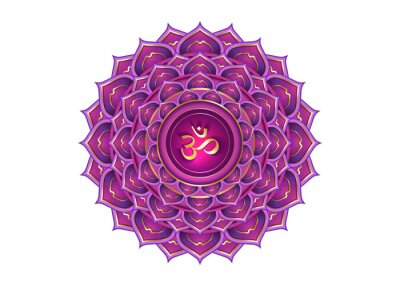 Obraz seventh chakra Sahasrara logo template. Crown chakra symbol, Purple lotus sacral sign meditation, yoga gold luxury round mandala icon. Gold symbol Om in the center, vector isolated on white background
