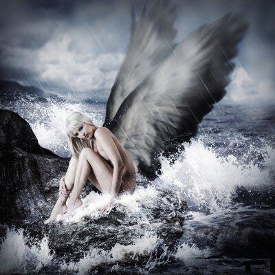 Obraz Sexy blond kobieta ze skrzydłami anioła