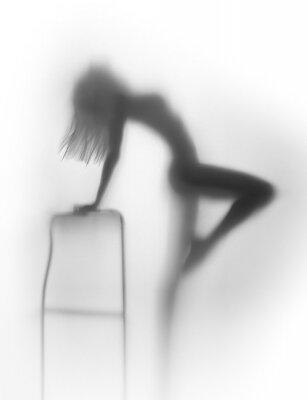 Obraz Sexy sylwetka ciała kobiety z krzesłem