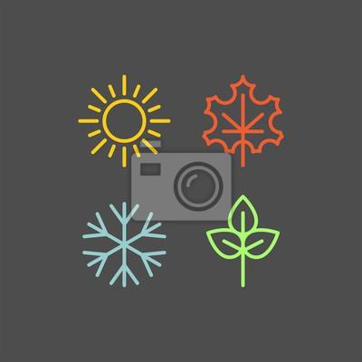 Obraz Sezony płaskie wektorowe ikony