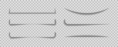 Obraz Shadow lines border. Page line divider for design web page or paper sheet on transparent background. Set of realistic bar of shade. vector illustrator