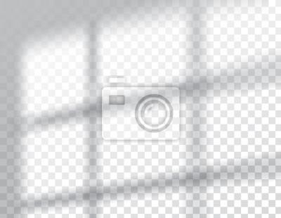 Obraz Shadows overlay effects mock up, window frame natural light, vector illustration.