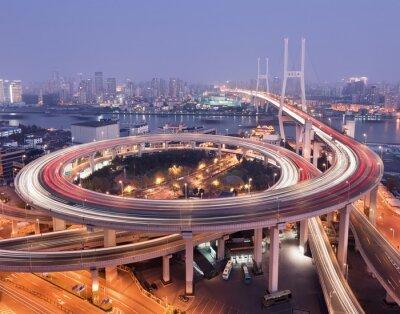 Obraz Shanghai Nanpu most na rzece Huangpu w półmroku.