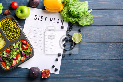Obraz Sheet of paper with diet plan and healthy products on wooden table