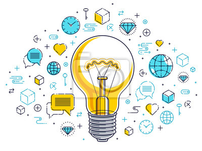 Obraz Shining light bulb and set of icons, business idea creative concept, e-commerce allegory, internet business, marketplace or online shop, vector illustration.