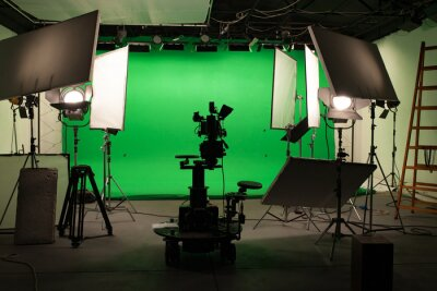 Obraz Shooting studio with professional equipment and green screen