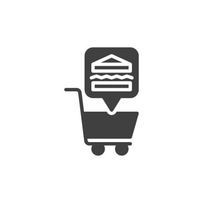 Obraz Shopping cart with sandwich vector icon. filled flat sign for mobile concept and web design. Fast food shop glyph icon. Symbol, logo illustration. Vector graphics