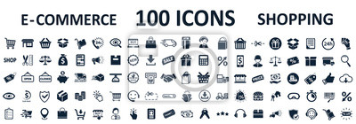 Obraz Shopping icons 100, set shop sign e-commerce for web development apps and websites - stock vector