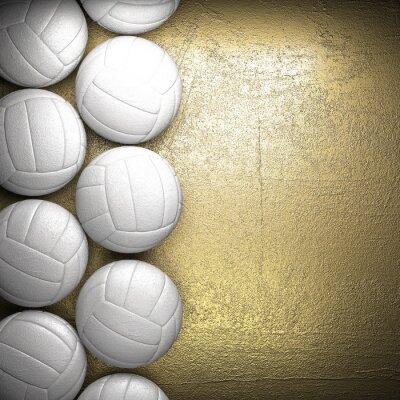 Obraz Siatkówka i piłka tle ściany złoty