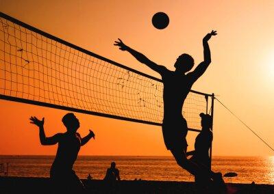 Obraz siatkówka plażowa sylwetka