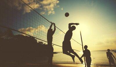 Obraz Siatkówka plażowa w Sunset przyjemności Concept