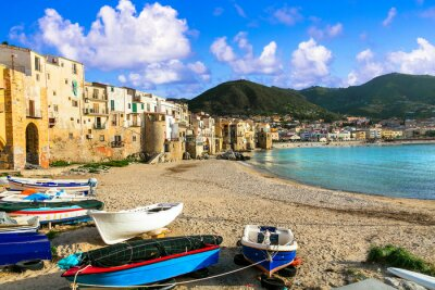 Sicily island - beautiful coastal Cefalu town. Panoramic view of old town and beach, south of Italy