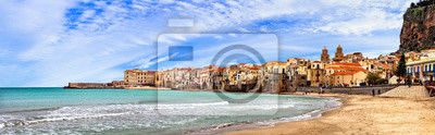 Sicily island - beautiful coastal Cefalu town. Panoramic view of the beach. south of Italy