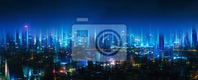 Obraz Sieć bezprzewodowa i miasto połączeń