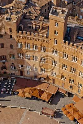 Siena, Piazza del Campo detail, Toskania, Włochy