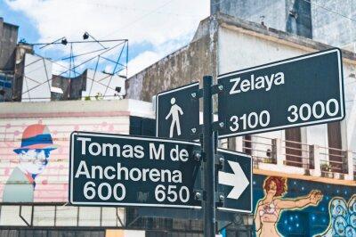 Sign at the corner of Zelaya street at Abasto tango  neighborhood in Buenos Aires