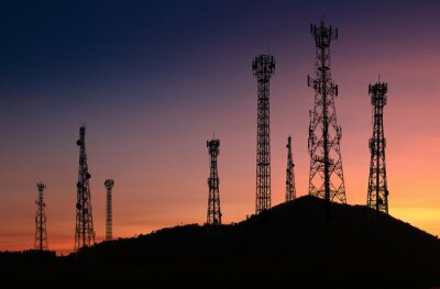 Obraz Signal and communication towers have a royal background such as the fall