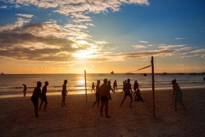 Obraz Silhouette ludzi grających w siatkówkę