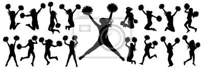 Obraz Silhouettes of cheerleading dancers (jumping and standing) with pompoms, isolated set of icons.Vector illustration.
