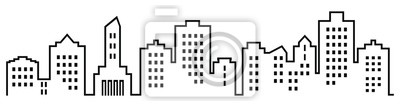 Obraz Sillhouette miasta, ikona wektor czarny