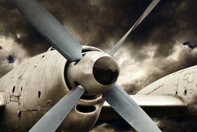 Obraz Silników turbośmigłowych bliska, retro techniki lotniczej
