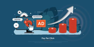 Simple flat design of pay per click, modern vector illustration