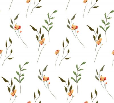 Obraz Simple seamless pattern with delicate peach flowers. Abstract floral arrangement of various wildflowers, herbs and plants. White background. Vector.