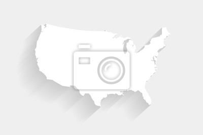 Obraz Simple white United States map on gray background, vector