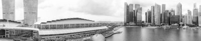 SINGAPORE - JANUARY 2ND, 2020: Amazing panoramic aerial view of Marina Bay and city skyline