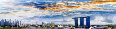Singapore skyline. Amazing aerial panoramic view of Marina Bay area at sunset