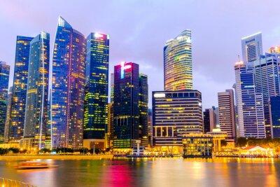 Obraz Singapur Skyline i widok na Marina Bay długiej ekspozycji