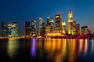 Obraz Singapur Skyline w wieczór