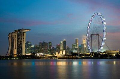 Obraz Singapur skyscaper w Marina Bay w nocy