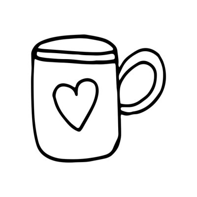 Single hand drawn cup of coffee, chocolate, cocoa, americano or cappuccino. Doodle vector illustration.