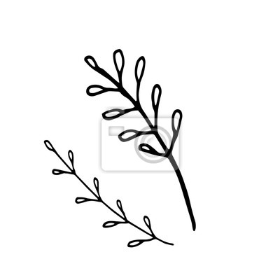 Single hand drawn element of New Year and Xmas. Doodle vector illustration. Winter elements  for greeting cards, posters, stickers and seasonal design.  Isolated on white background