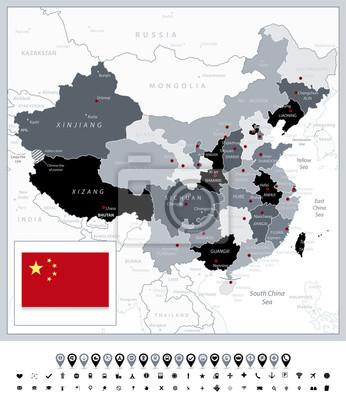 Skala szarości mapa Chin i ikony nawigacji